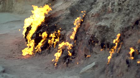 miraculous : Natural burning ground. Burning natural gas from underground.