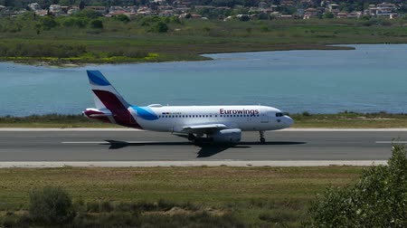 kerkyra : CORFU, GREECE - APRIL 8, 2018: Modern passenger airplane of Eurowings airlines taking off from airport of Corfu island, Greece.