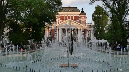 pilíře : SOFIA, BULGARIA - APRIL 27, 2018: Ivan Vazov National Theatre in the city center of Sofia, Bulgaria. Sofia is the capital and largest city of Bulgaria.