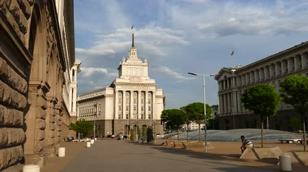 council of europe : SOFIA, BULGARIA - APRIL 24, 2018: The City centre of Sofia, the capital of Bulgaria. Buildings of Presidency, Council of Ministers and Former Communist Party House.
