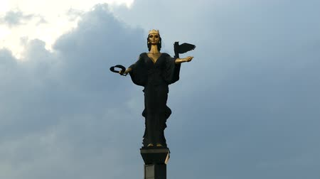 laur : Monument of Saint Sofia, the goddess protector of the city, Sofia, Bulgaria. Dark stormy clouds before rain. Wideo