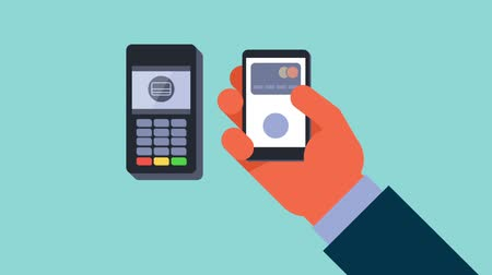 payment : Mobile payment animation. Male hand holding mobile phone and making mobile payment. NFC technology.