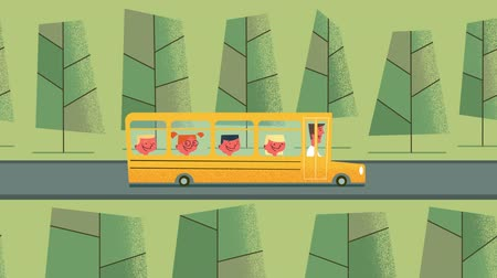 otobüs : Back to school. Smiling happy kids riding on school bus. Outdoor scene. Looped animation. Stok Video