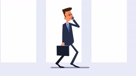 telefon : Cartoon businessman walking, holding briefcase and talking on the phone. 4K resolution. Looped animation. Man on abstract   and transparent backgrounds. PNG+Alpha.