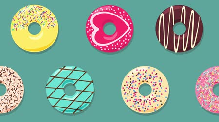 doughnut : Falling and rotating colorful donuts on grey cyan background. Cartoon 2d looped animation.