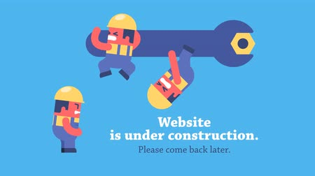 website : Page under construction. Funny cartoon workers repairing website using huge spanner. Looped animation. Prerendered composition and workers on transparent background. Stock Footage