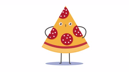 emoticon : piece of pizza posing like a fashion model. Looped 2D animation. Best use as an element of any promotion animation or commercial, or even as a sticker.