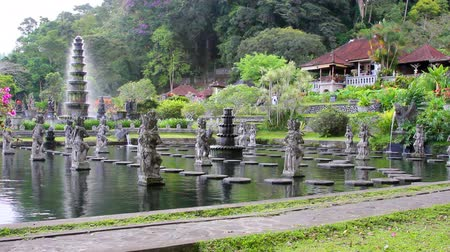 tapınaklar : Tirta Gangga water palace on Bali, Indonesia Stok Video