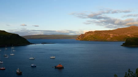 highland : timelapse of sunset over Loch Portree, Isle of Skye, Scotland