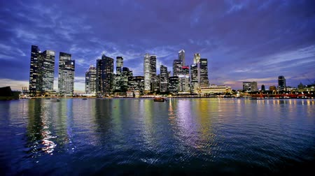dark bay : Singapore city skyline at night Stock Footage