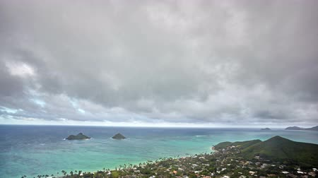 cloudscape timelapse van Lanikai Beach en Mokulua Islands, Kailua, Oahu, Hawaii, 4K UHD