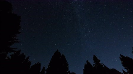 perseids : timelapse of night sky with stars and meteors, Krkonose, Czech Republic