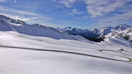 dolomiti : panoramic view of winter landscape of Passo Giau, Dolomites, Italy