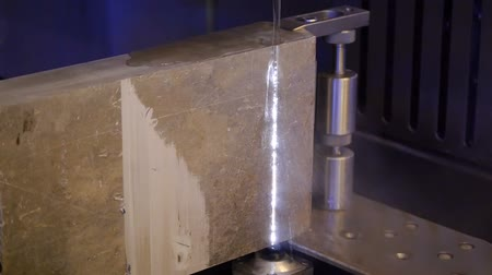 channelling : Cutting stone with water jet cutting machine. Stock Footage