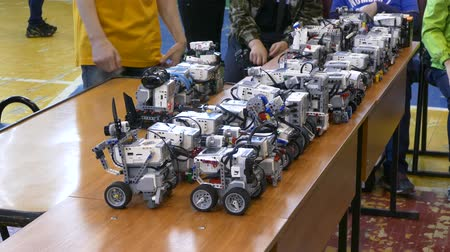 technics : Tournament robots. robots constructor. Robots are on the table, for display at competitions.