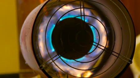 A powerful turbine inside which burns a fire Stock Footage