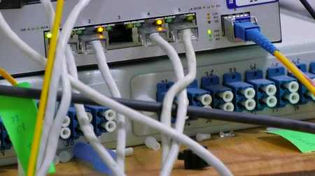 Cables Coiling Around Each Other Inside A Network Cabinet Stock Footage