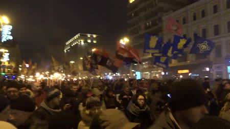 mais : March of Ukrainian nationalists. Kiev, Ukraine.01.01.2018. Part 1 Stock Footage