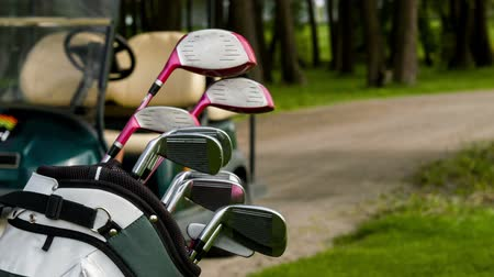 bogaty : Rich game. Vertical dolly shot of full golf equipment and car on golf field