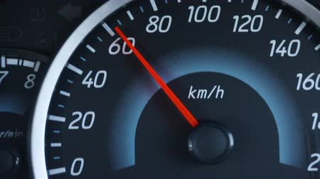 индикатор : Close-up car dashboard, digital speedmeter