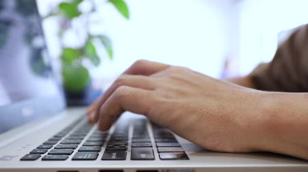 vdo : man typing keyboard for communication customer, post comment on social network Stock Footage