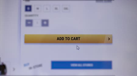 url : Mouse clicking add to cart button, closeup shot
