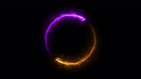 geometric : purple and orange ring fire, sphere particle