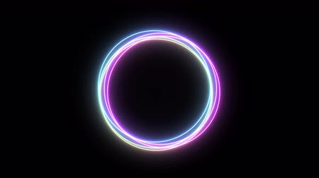 circle neon ring, use for background, transition Стоковые видеозаписи