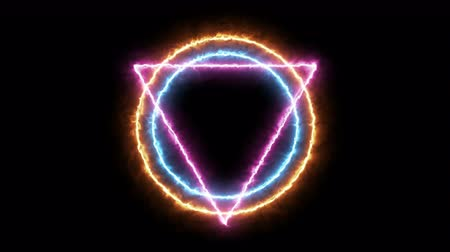 triangle  and circle with fire particle, illuminati style, use for background