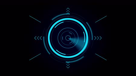 crosshair : Futuristic User Interface HUD, digital crosshair, scan for a target Stock Footage