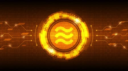 libra : Golden Libra coin symbol with futuristic HUD interface, new digital currency