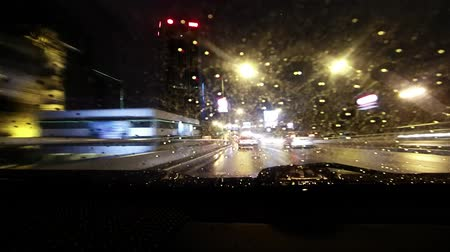 car traffic : in car movement highway at night