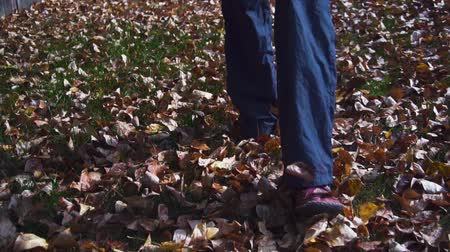 Woman legs on autumn fallen yellow leaves in park