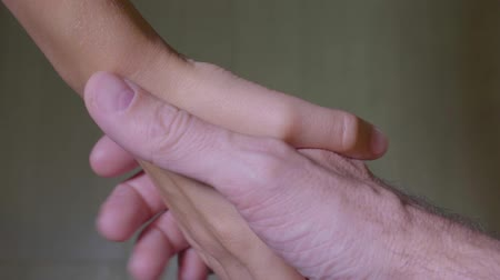 dát : Father and child shake hands. Close up of adult and small caucasian male hands isolated. Dostupné videozáznamy