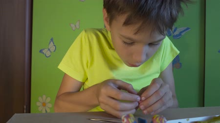 puericultura : Boy is sitting at the desk and sculpting figures with colored plasticine. Development of children fine motor skills