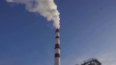 carbon dioxide : Smoking chimneys of plant. Air pollution and ecological problems concept. Stock Footage