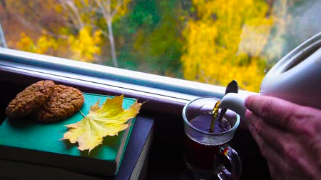 ароматический : Pouring hot tea into a cup in front of the window in autumn