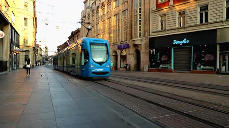 tramwaj : Tram in the morning in Zagreb in Croatia