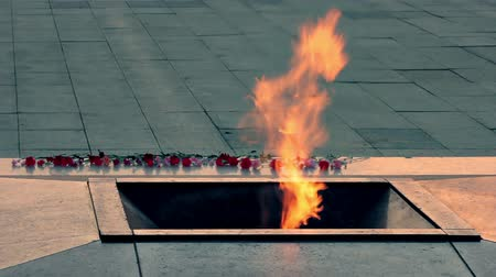veteran's day : War Memorial. Eternal Flame on Victory Square, Minsk in honour of the soldiers of the Soviet Army and partisans of Belarus.  Source: Canon 7D, graded. Stock Footage