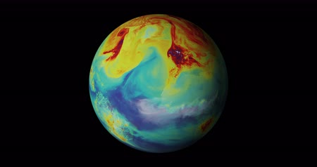 globální oteplování : Earth Global Warming [4K] Rotating earth globe showing concentration of carbon dioxide in the atmoshpere. Built using animation by NASAs Goddard Space Flight Center.  Source: CGI render.