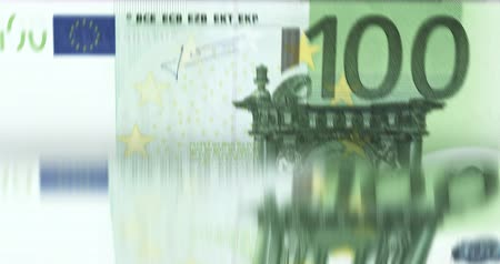 time machine : Counting money fast [loopable] 100 euro bills. Bank currency counter machine quickly enumerates banknotes.  Source: CGI rendering. Stock Footage