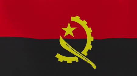 atrás : [loopable] Flag of Angola.  Angolan official flag gently waving in the wind. Highly detailed fabric texture for 4K resolution. 15 seconds loop.  Source: CGI rendering.