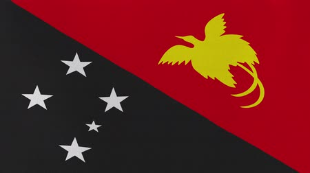 melanesia : [loopable] Flag of Papua New Guinea.  Papuan official flag gently waving in the wind. Highly detailed fabric texture for 4K resolution. 15 seconds loop.  Source: CGI rendering.