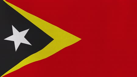 east timor : [loopable] Flag of Timor-Leste.  Timorese official flag gently waving in the wind. Highly detailed fabric texture for 4K resolution. 15 seconds loop.  Source: CGI rendering. Stock Footage