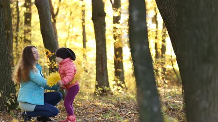 small park : Mother with child walking in the autumn forest