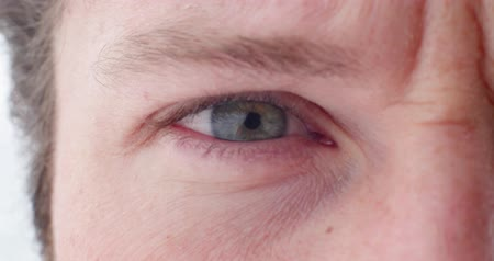 eyes closed : Detail of man closing eye.Front view.Slow motion 60p 4k video Stock Footage