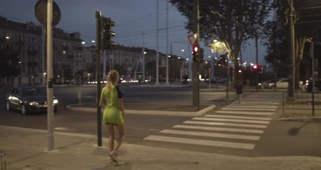 stopping : Woman in fitness wear stop running near zebra crossing.Back following view.Summer evening or night.Industrial green city.Urban runner cardio healthy activity workout.4k slow motion 60p video Stock Footage