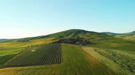 farmhouse : Italy aerial landscape, typical tuscany aerial landscape. Aerial video over amazing Tuscany landscape Stock Footage