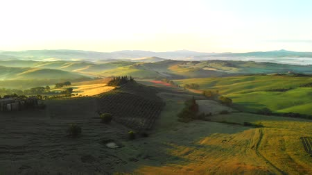 farmhouse : Aerial landscape panorama in Tuscany, Italy Stock Footage