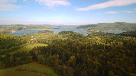 denizciler : Flight over summer Solina Lake in Polish Bieszczady Mountains Stok Video
